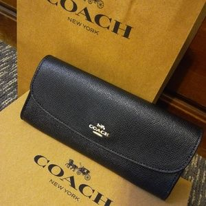 New Coach Black Leather Envelope Wallet